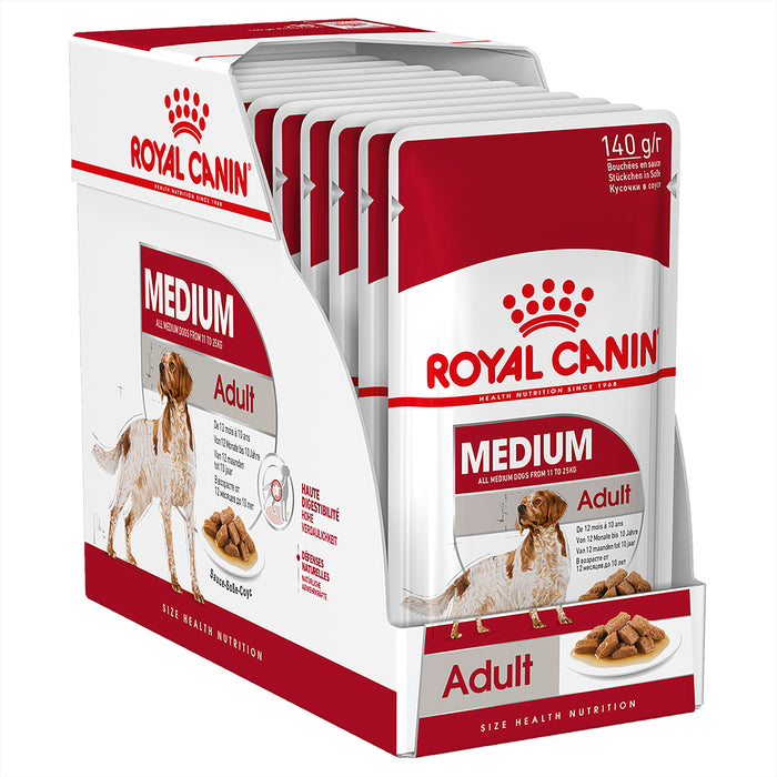 Royal Canin Medium Adult Wet Dog Food Pouches 140g x 10