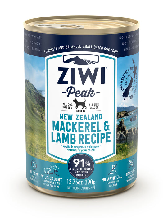 Ziwi Peak Canned Mackerel and Lamb Dog Food 390g x 12