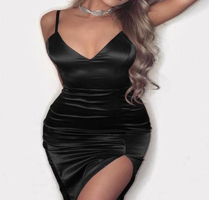 """Unique"" Satin V Neck Bodycon"