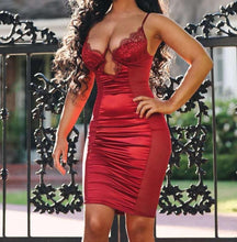 """Beaucoup"" Satin Mesh Lace Bodycon"