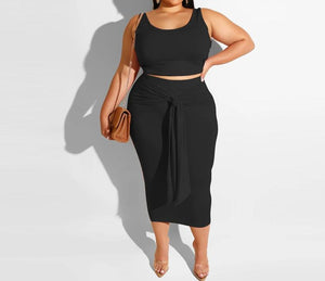 """Trendi"" 2pc Midi Skirt & Crop"