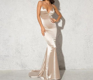 """Elegance"" Backless Satin Gown"