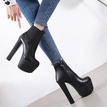 """Leverage"" Leather Platform Chunky Heel Bootie"