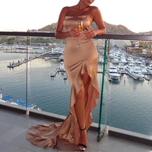 """Repercussion"" Floor Length High-Slit Slip Satin Dress"