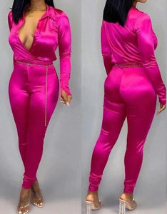 """Soie"" 2pc Satin Pants Set"