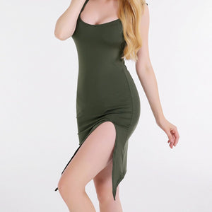 """Lovable"" Midi Bodycon w/ Side Slit"