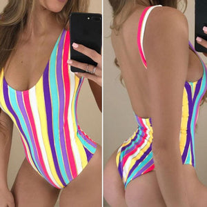 Striped Backless One Piece