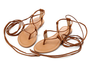 """Roman Rebel"" Lace-Up Flat Sandals"