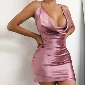 Sexy Satin Plunge Neck Mini