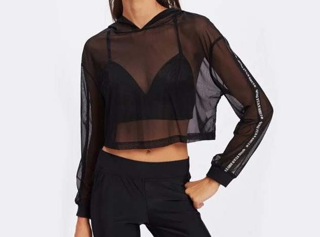 Crop Mesh Hooded