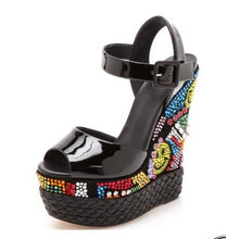 """Willa"" Mutli-Color Crystal Wedge Sandals"