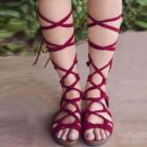 """Cali"" Bohemian Tie-Up Flat Sandals"