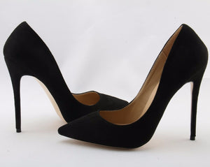 """Dedria"" Black Faux Suede Pointed Toe Pumps"