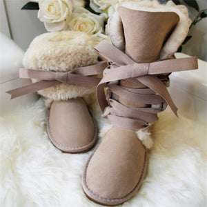 """Let It Snow"" Sheepskin Lace-Up Fur Boots"