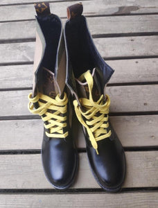 """Alpha"" Yellow Lace Combat Boots"