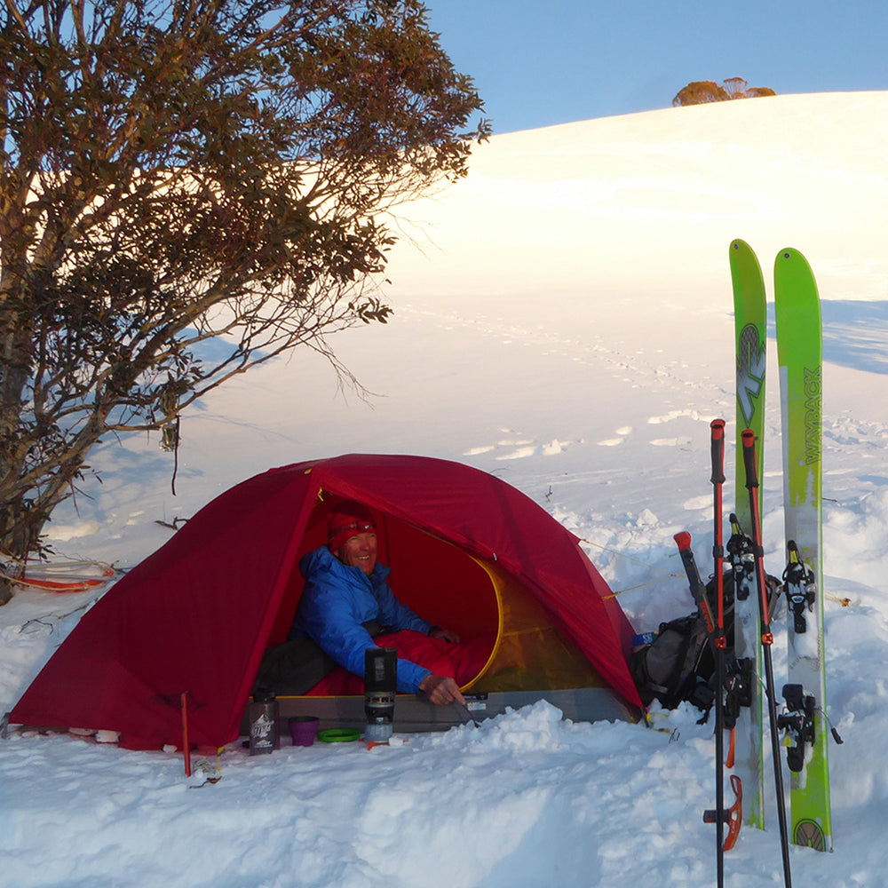 Mont Ambassador Doug Chatten in the NSW Snowy Mountains with his Mont Moondance 1 Full Nylon Tent
