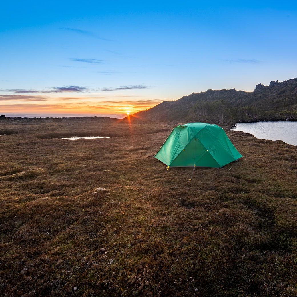 The Mont Dragonfly Tent at sunset, Tasmania. By Geoff Murray