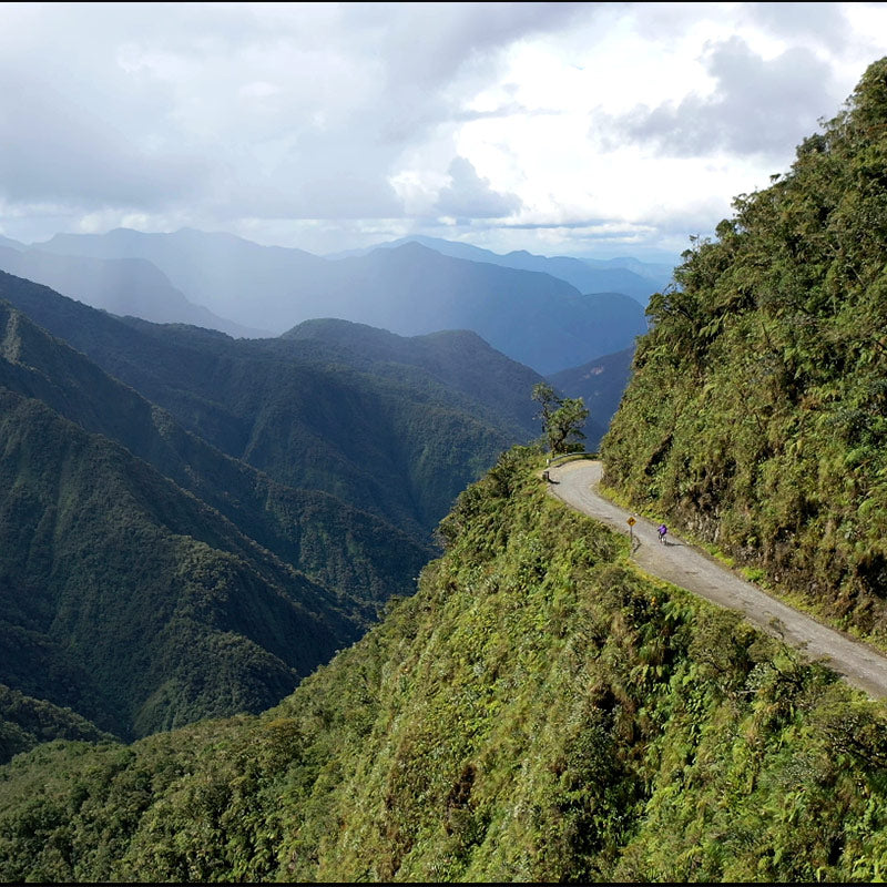Kate cycling Death Road, South Yungas, Bolivia