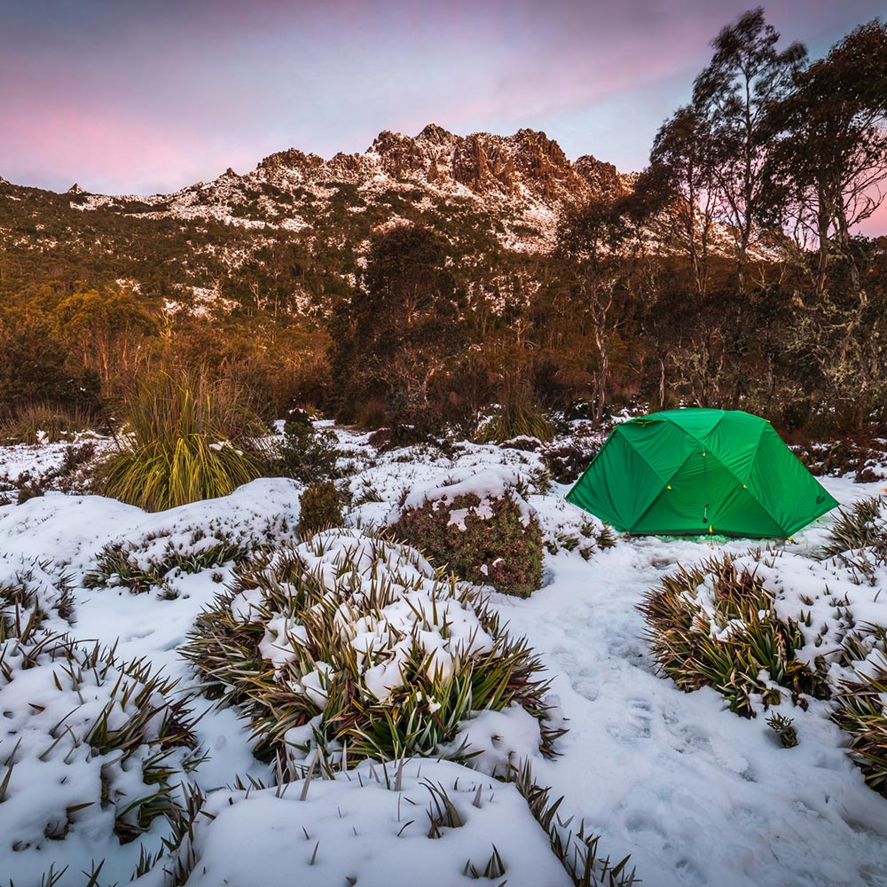 Sunset over Collins Bonnet, Tasmania. Mont Dragonfly Tent. By Geoff Murray