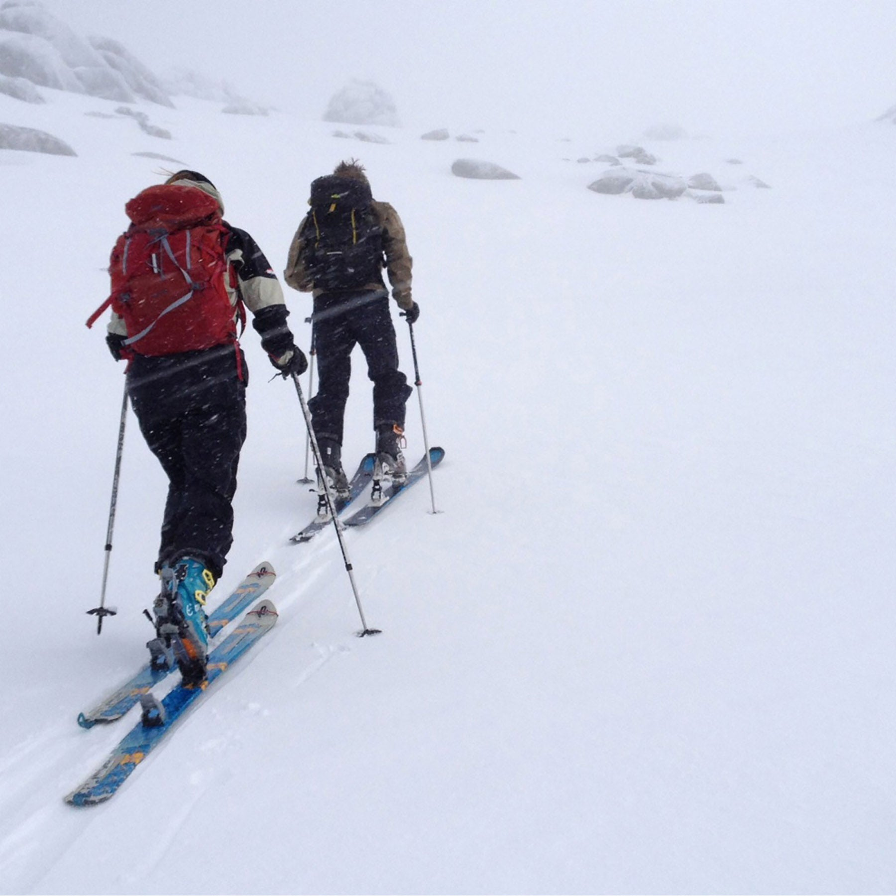 Mont staff members navigating in poor weather on the New South Wales Main Range.