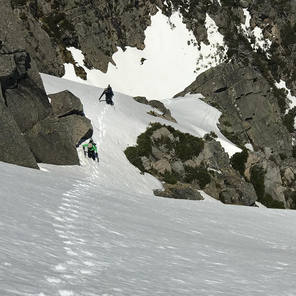 Doug chatten and co climbing steeps in the backcountry