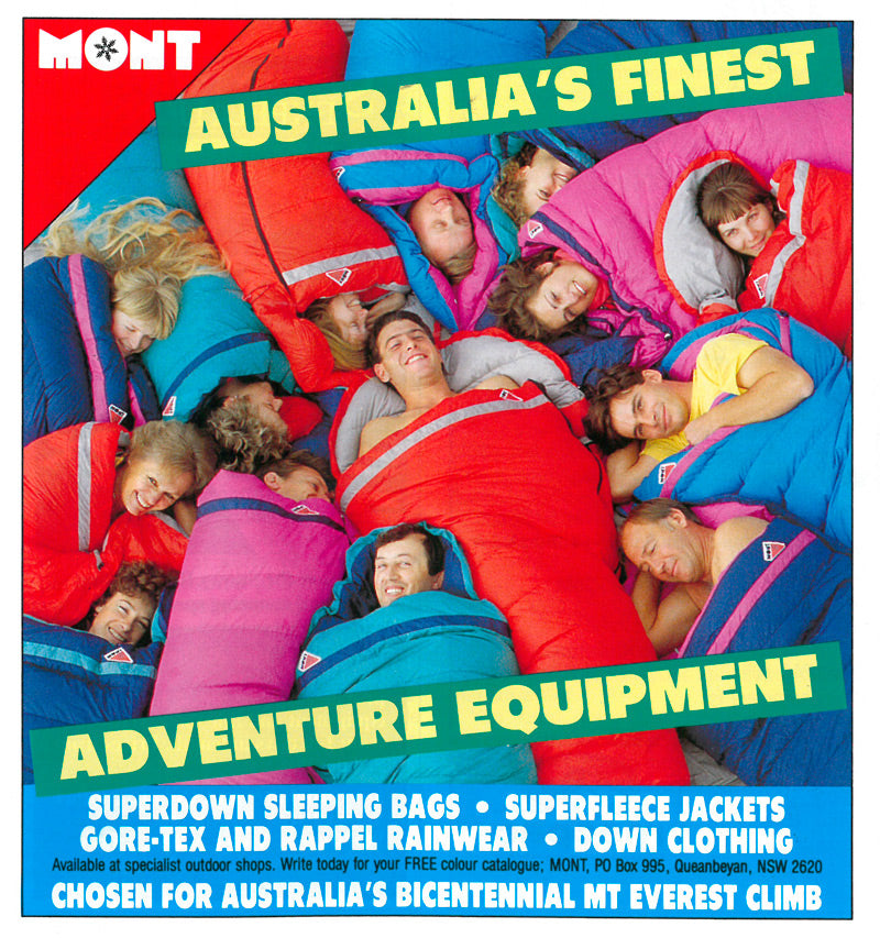 A Mont Sleeping Bag ad published in Wild Magazine in 1988