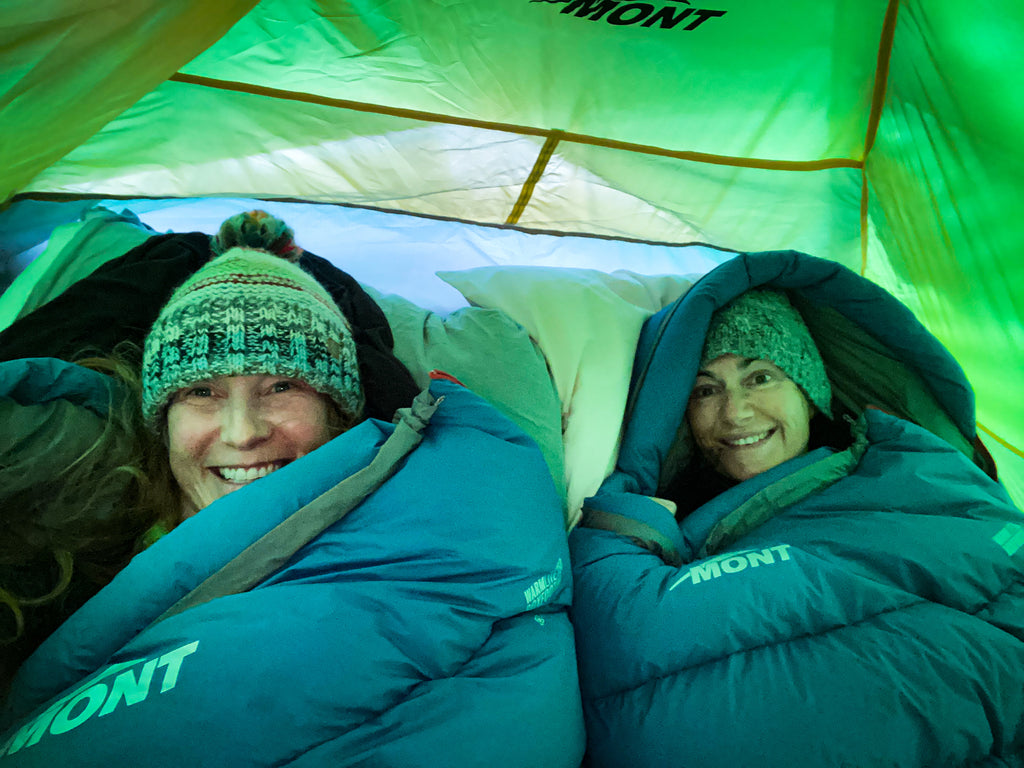 Warm in Mont Warmlite Boxfoot 750 sleeping bags, Mount Hotham. By Carol Binder