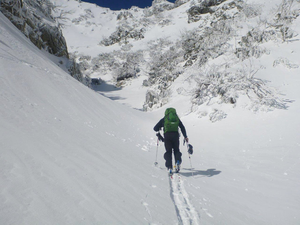 Doug skinning up the Sentinel, NSW Snowy Mountains