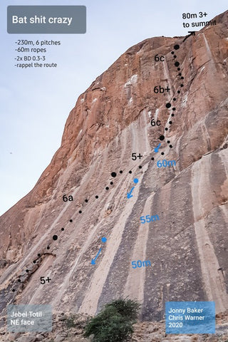 Bat Shit Crazy climbing route in Kassala, Sudan.