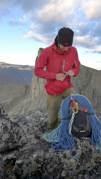 Chris Fitzgerald, Chris Warner's climbing partner, at Bilibino Big Walls in Russia, with the Gyro canvas daypac