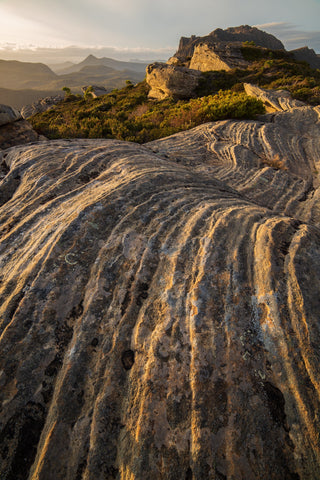 Sedimentary layers of sandstone, Mt Rufus, Tasmania. By Geoff Murray