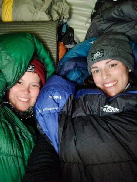 Hilly and Kirsten in Mont Kiandra (now Brindabella XT 850) and Telemark (now Spindrift XT 850) Sleeping Bags