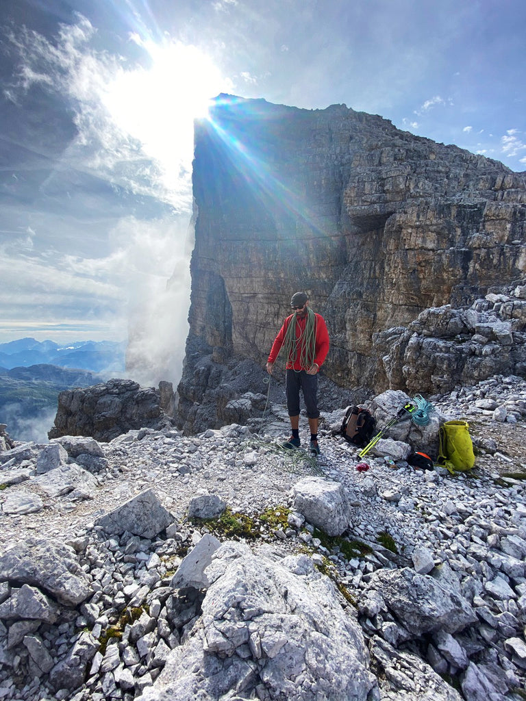 """Tofana di Rozes after climbing the Via Costantini-Apollonio, a classic but desperate 22 pitch 23 and we still weren't quite on the summit."""