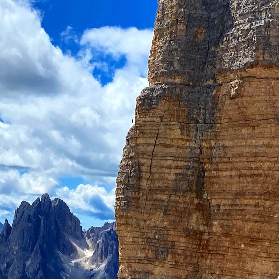 """Climbers on Punta Frida of the Tre Cime in the Italian Dolomites"""