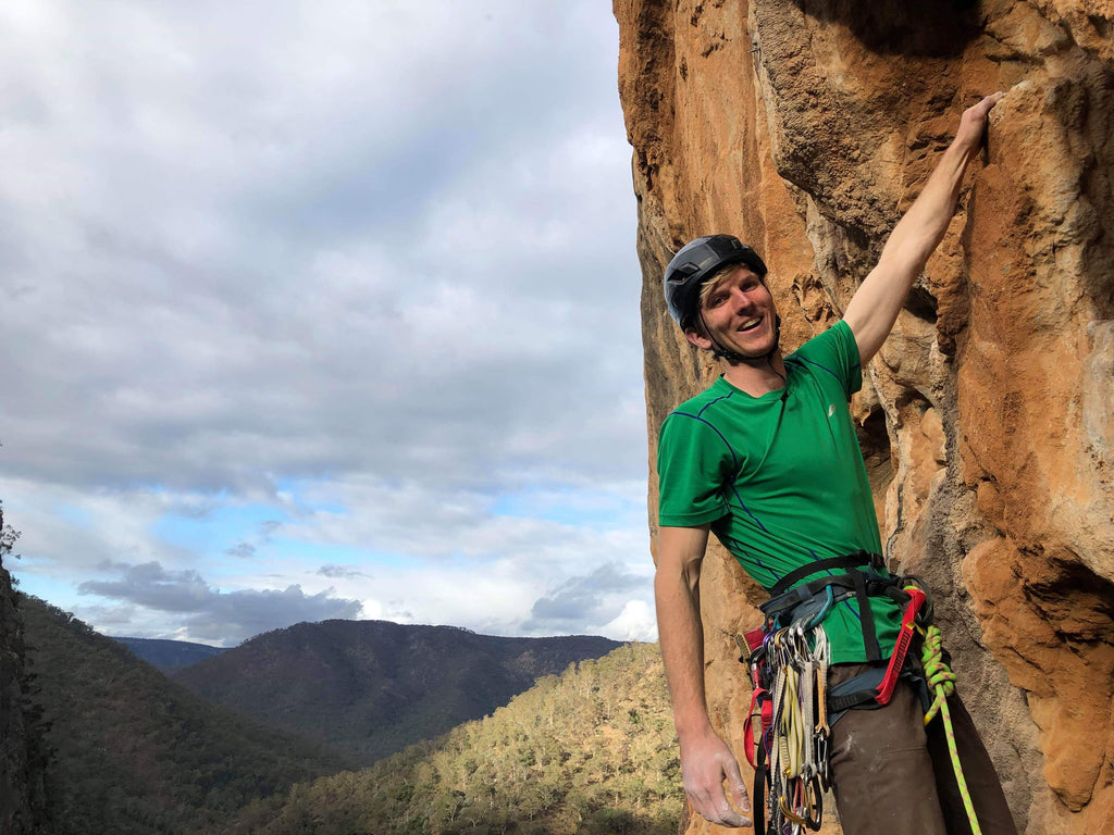 David climbing at Bungonia Gorge