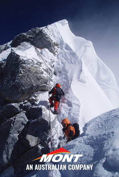 V-Pet expedition nearing the summit of Mount Everest. Wearing Mont High Altitude Down Suits
