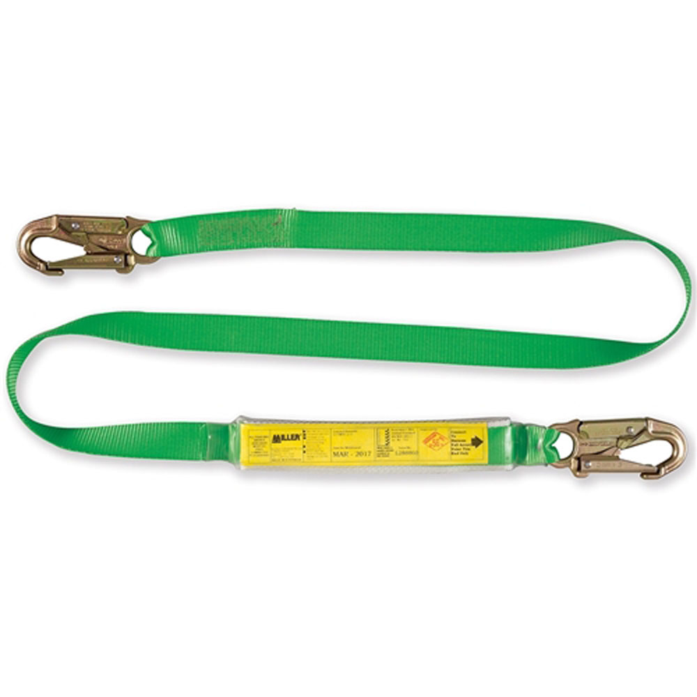 Miller Webbing Lanyard with Absorber and Hooks 2m