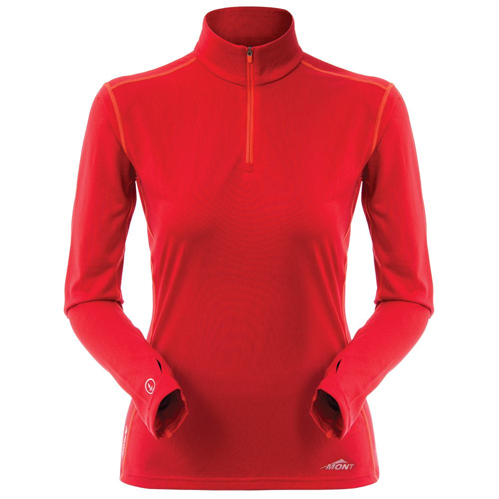 Mont Women Run Long Sleeve Zip Tee Women Clearance 8 / Red 68.73.15