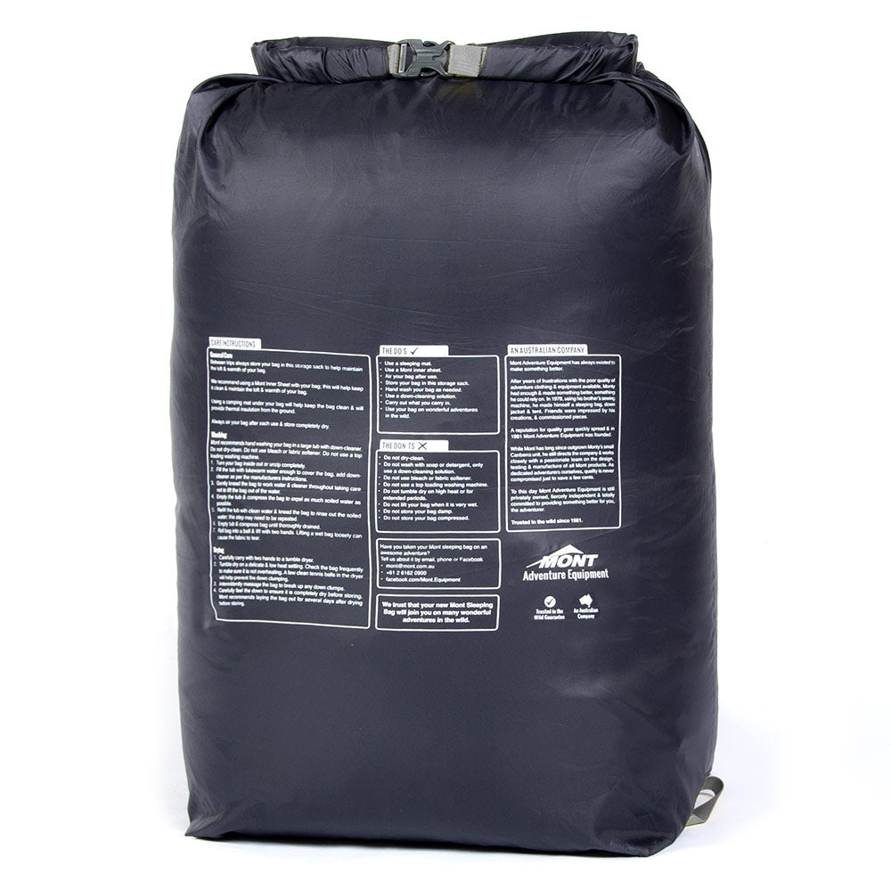 sleeping bag storage sack with roll top closure
