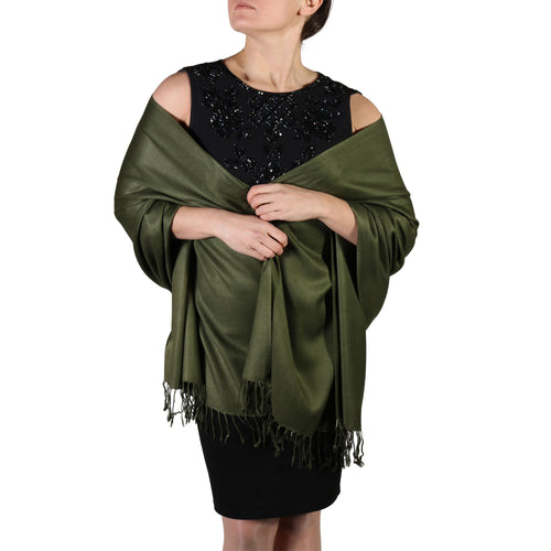 Dark Green Pashmina Scarf Shawl Wrap