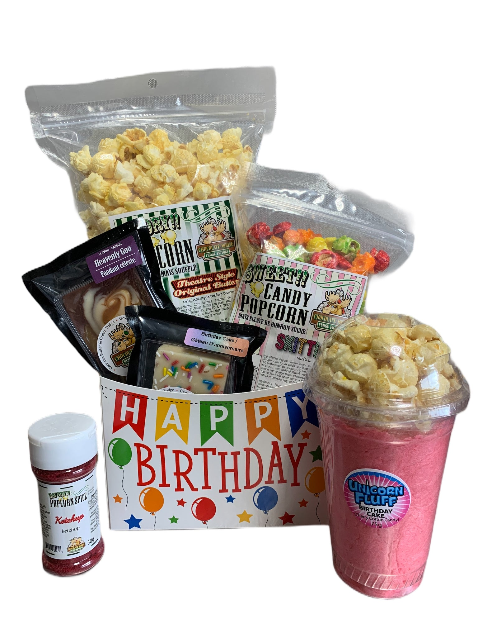Happy Birthday $40  Fudge & Popcorn Gift Basket