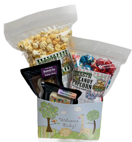 Welcome Baby $25 Fudge/Popcorn Basket