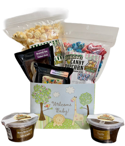 Welcome Baby $35 Fudge/Popcorn Gift Basket