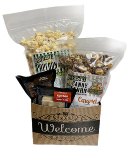 Welcome $25 Fudge/Popcorn Gift Basket