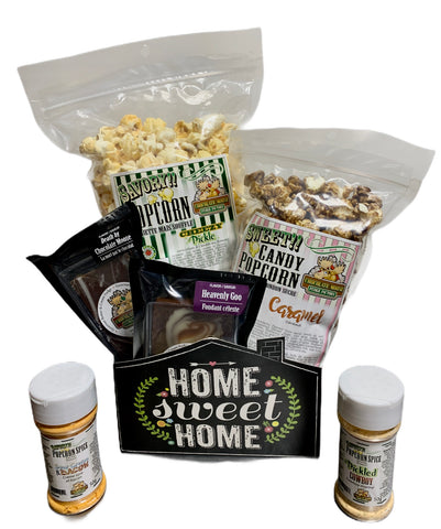 Home Sweet Home $40.00 Fudge/Popcorn Basket