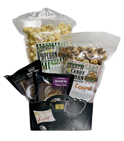 Get Well Soon $25 Fudge/Popcorn Gift Basket