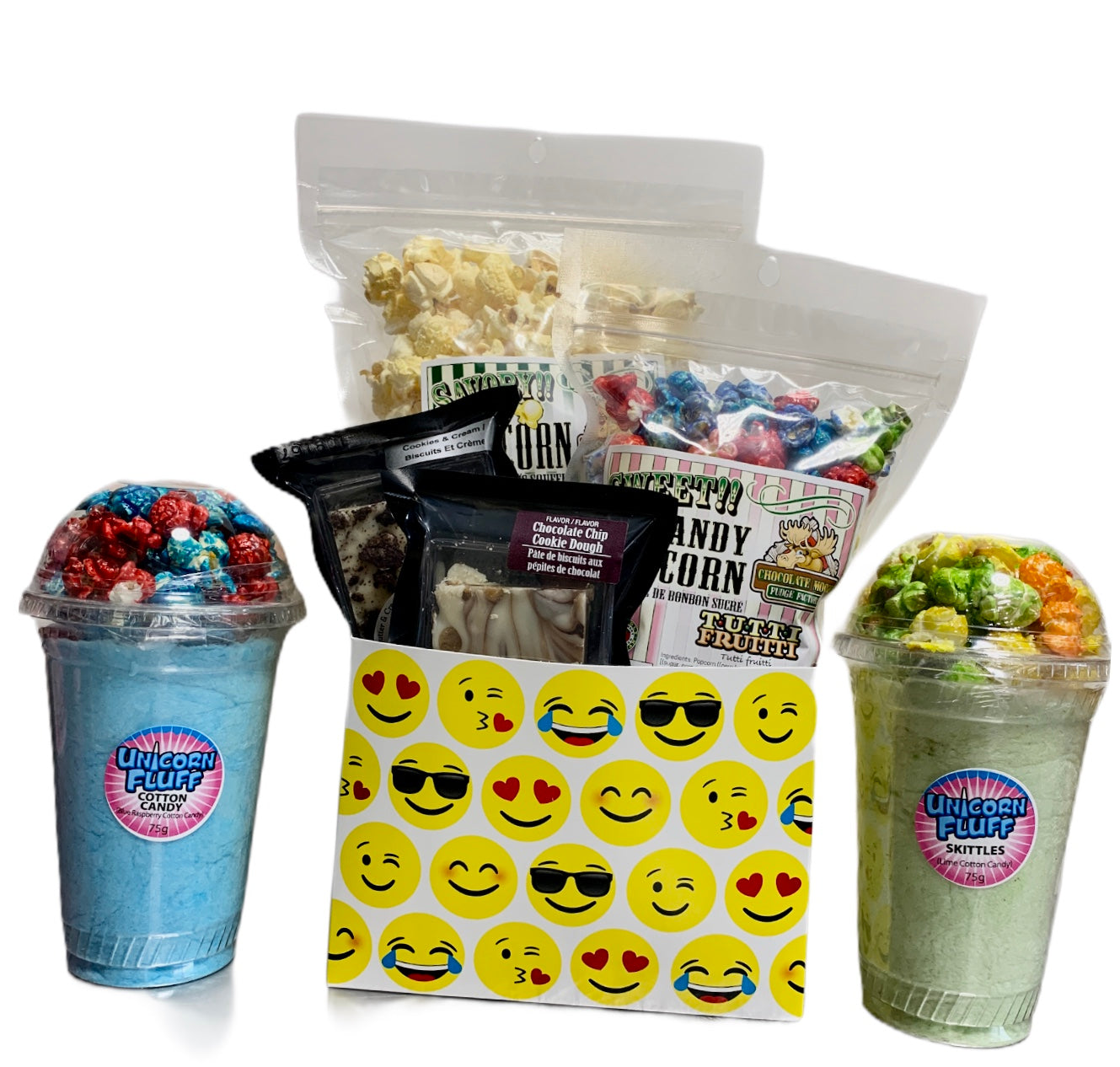 Smile Emojis $35 Fudge/Popcorn Gift Basket