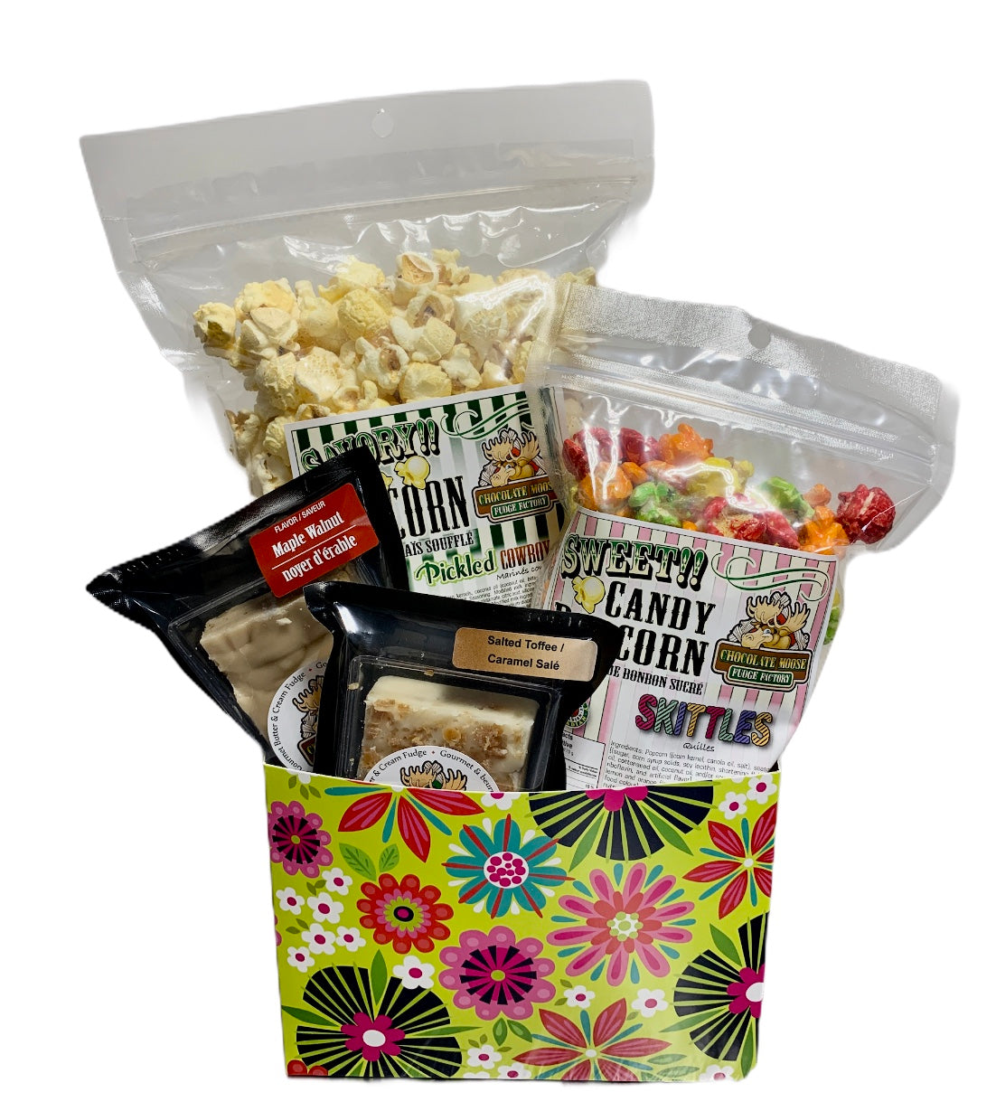 Retro Flower Power $25 Fudge/Popcorn Gift Basket