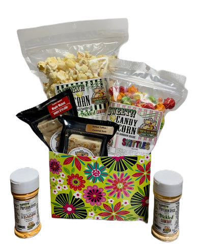 Retro Flower Power $35 Fudge/Popcorn Gift Basket