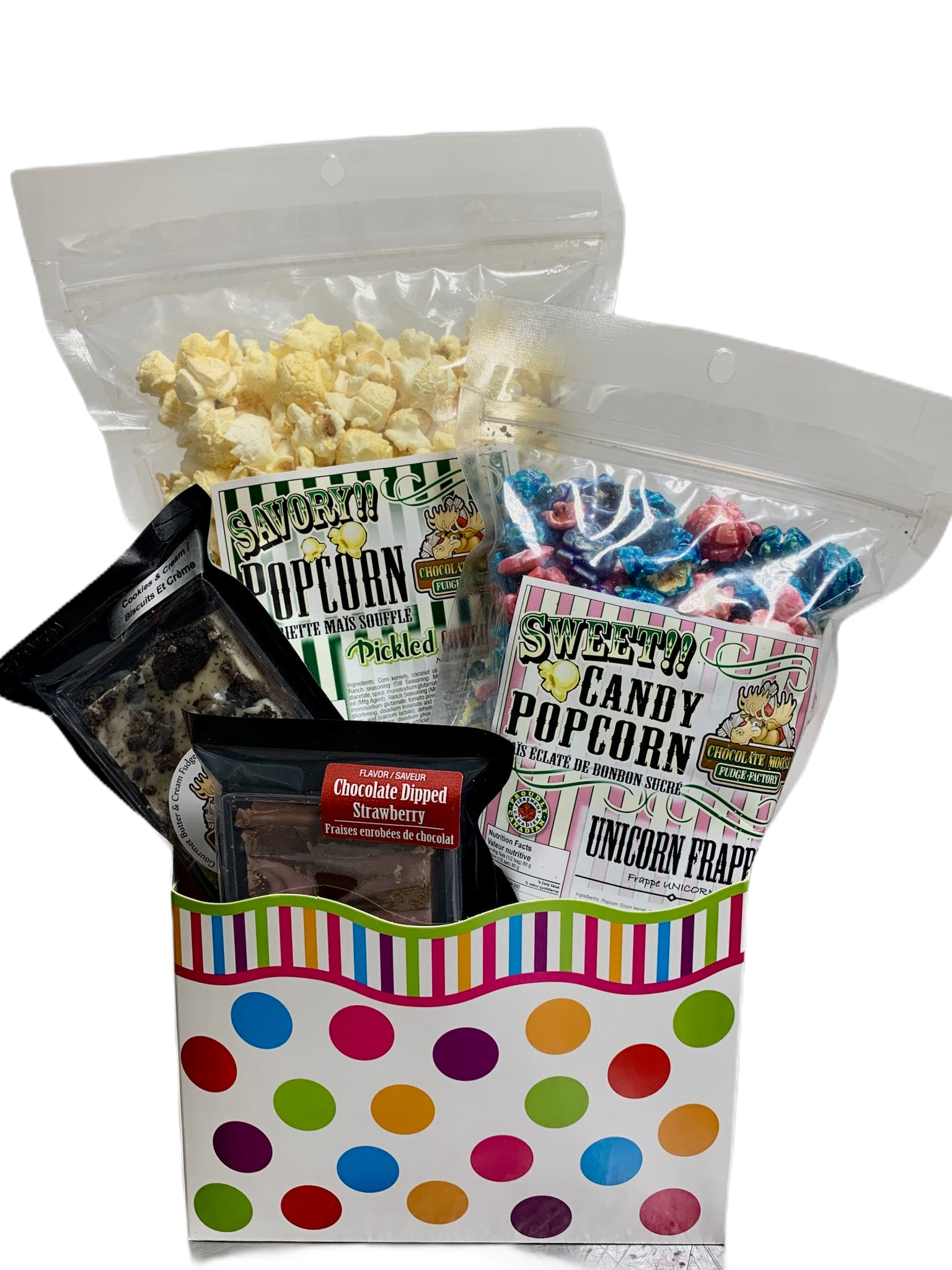 Polka Dots $30.00 Fudge/Popcorn Gift Basket